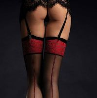 Black Stockings with Red Seams and Tops, Fiore Scarlett